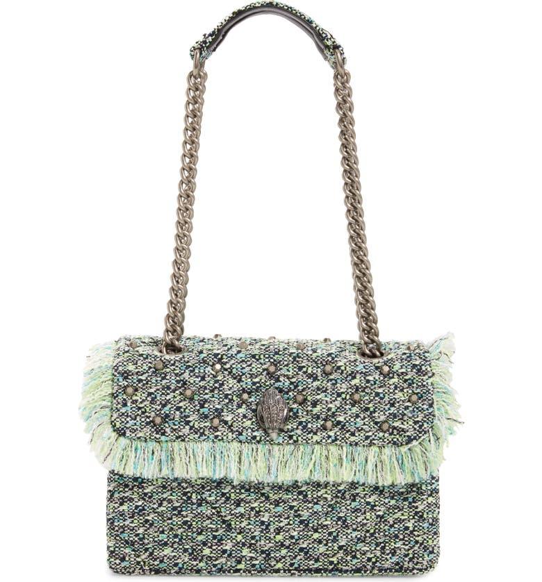 KURT GEIGER LONDON Kensington X Tweed Shoulder Bag, Main, color, GREEN