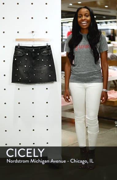 Imitation Pearl Embellished Denim Skirt, sales video thumbnail