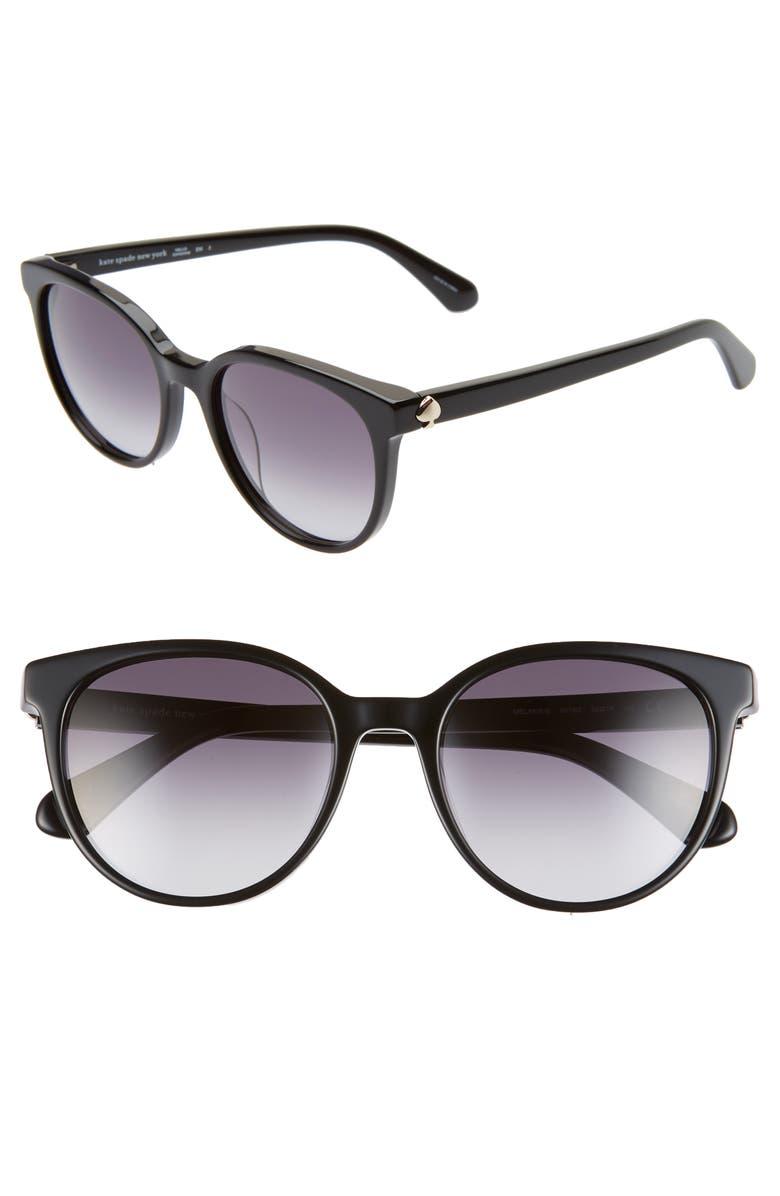 KATE SPADE NEW YORK melanie 52mm polarized round sunglasses, Main, color, BLACK/ DKGREY GRADIENT