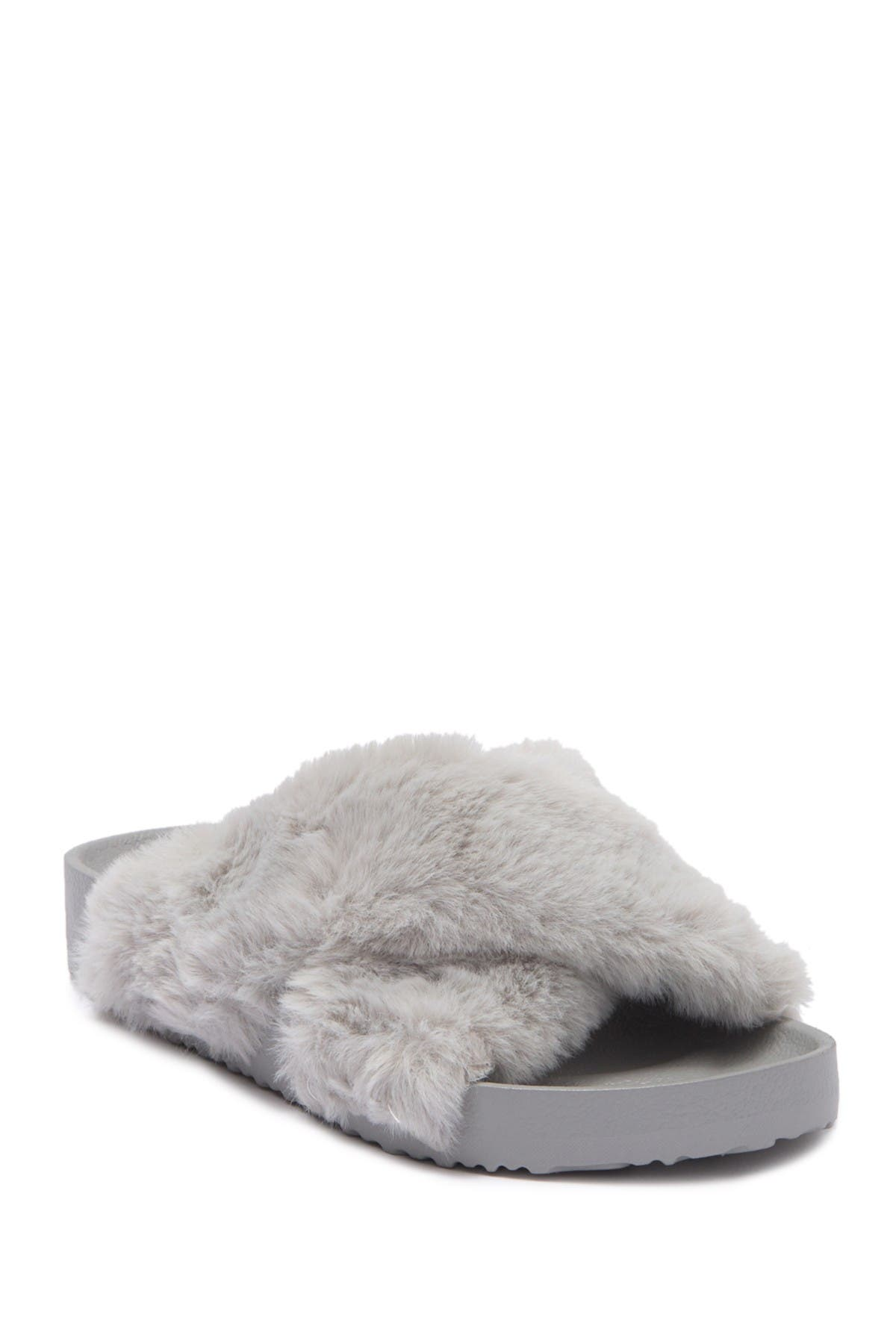 Unionbay Faux Fur Slide Sandal In Grey