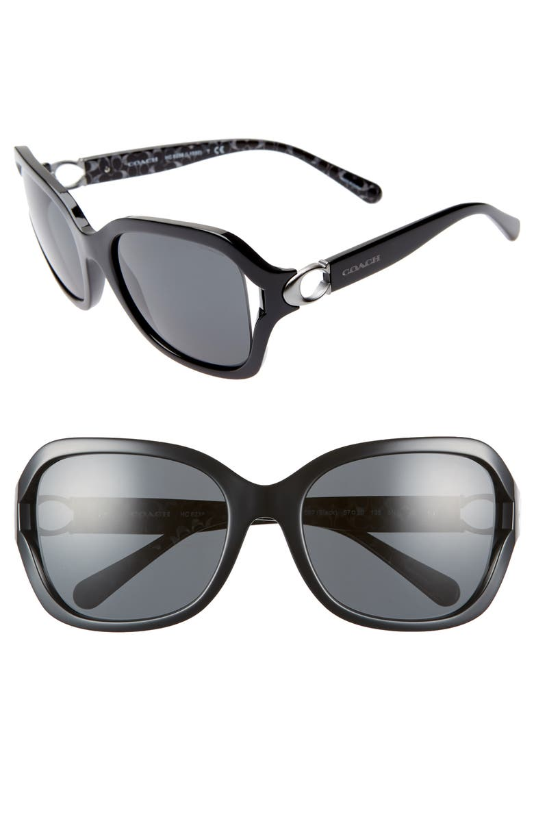 COACH 57mm Sunglasses, Main, color, BLACK/ GREY SOLID