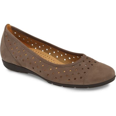 Gabor Perforated Ballet Flat, Grey