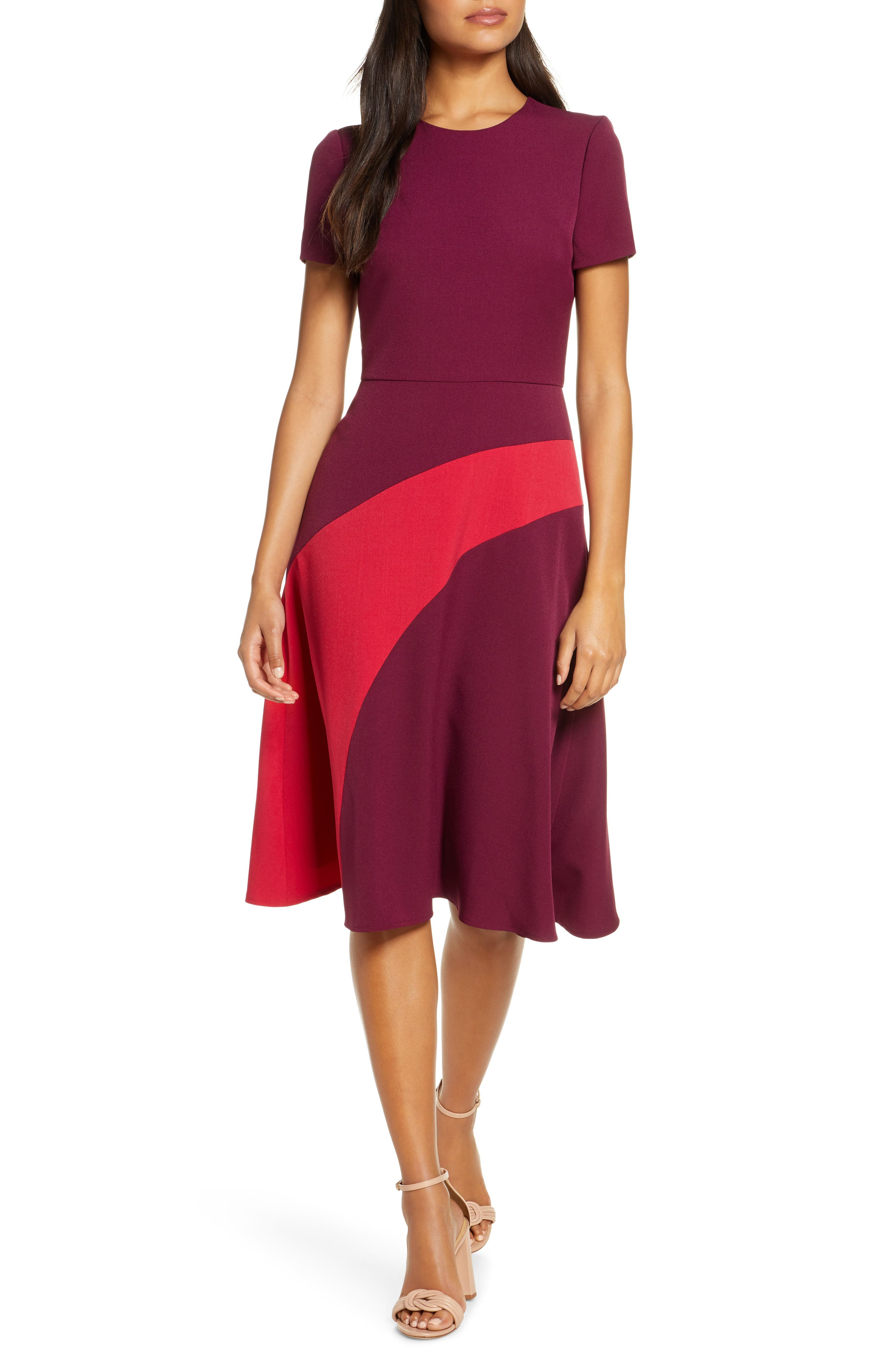 1920s Day Dresses, Tea Dresses, Mature Dresses with Sleeves Womens Maggy London Colorblock A-Line Dress $73.98 AT vintagedancer.com