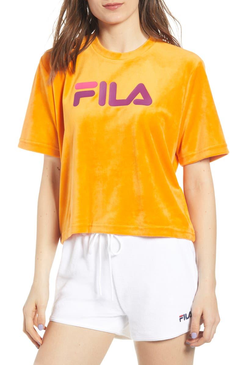 FILA Florita Velour Logo Tee, Main, color, 875