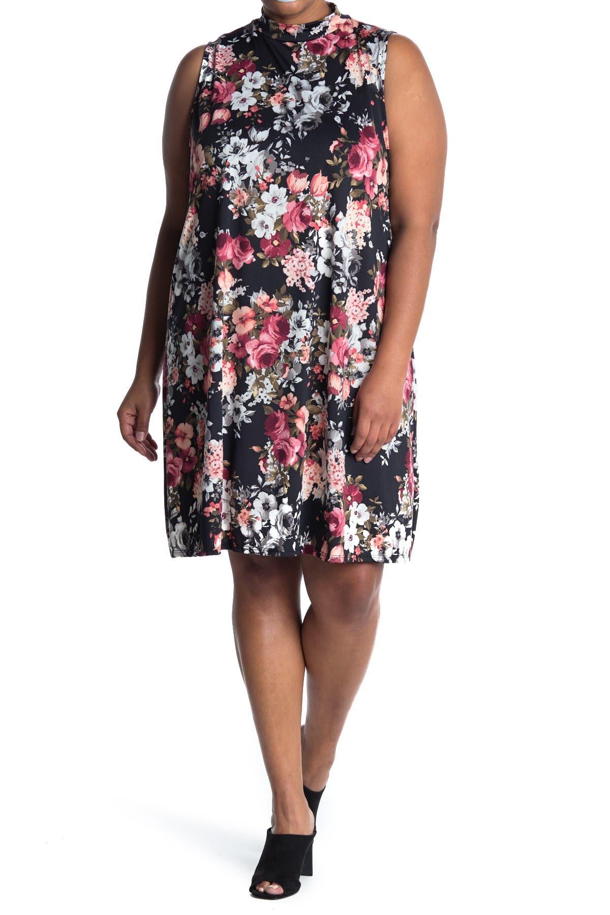 Image of TASH + SOPHIE Floral Sleeveless Mock Neck Dress