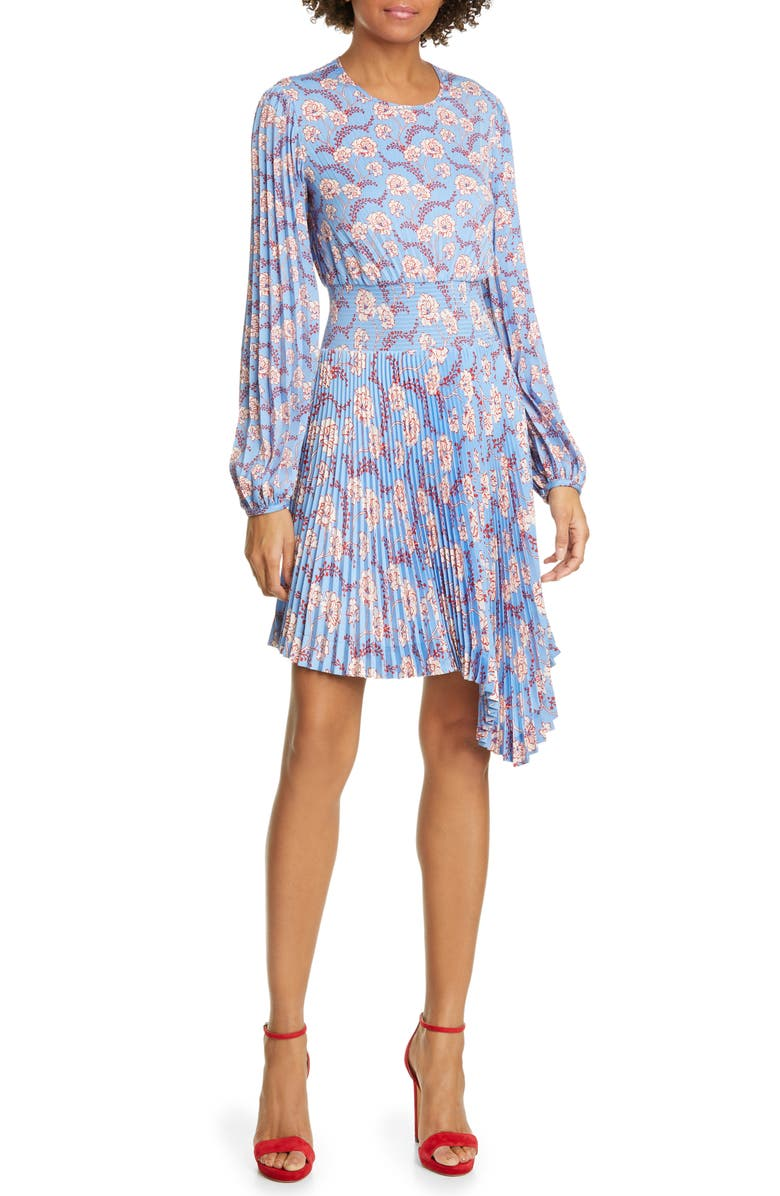 A.L.C. Behati Pleated Long Sleeve Minidress, Main, color, 400