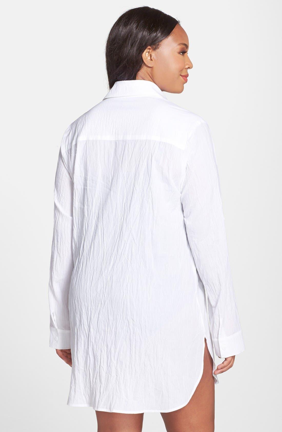 ,                             Boyfriend Shirt Cover-Up,                             Alternate thumbnail 8, color,                             WHITE