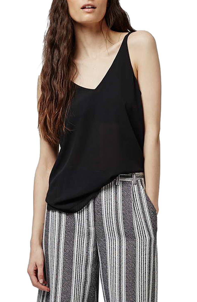 TOPSHOP Double Strap V-Back Camisole, Main, color, 001