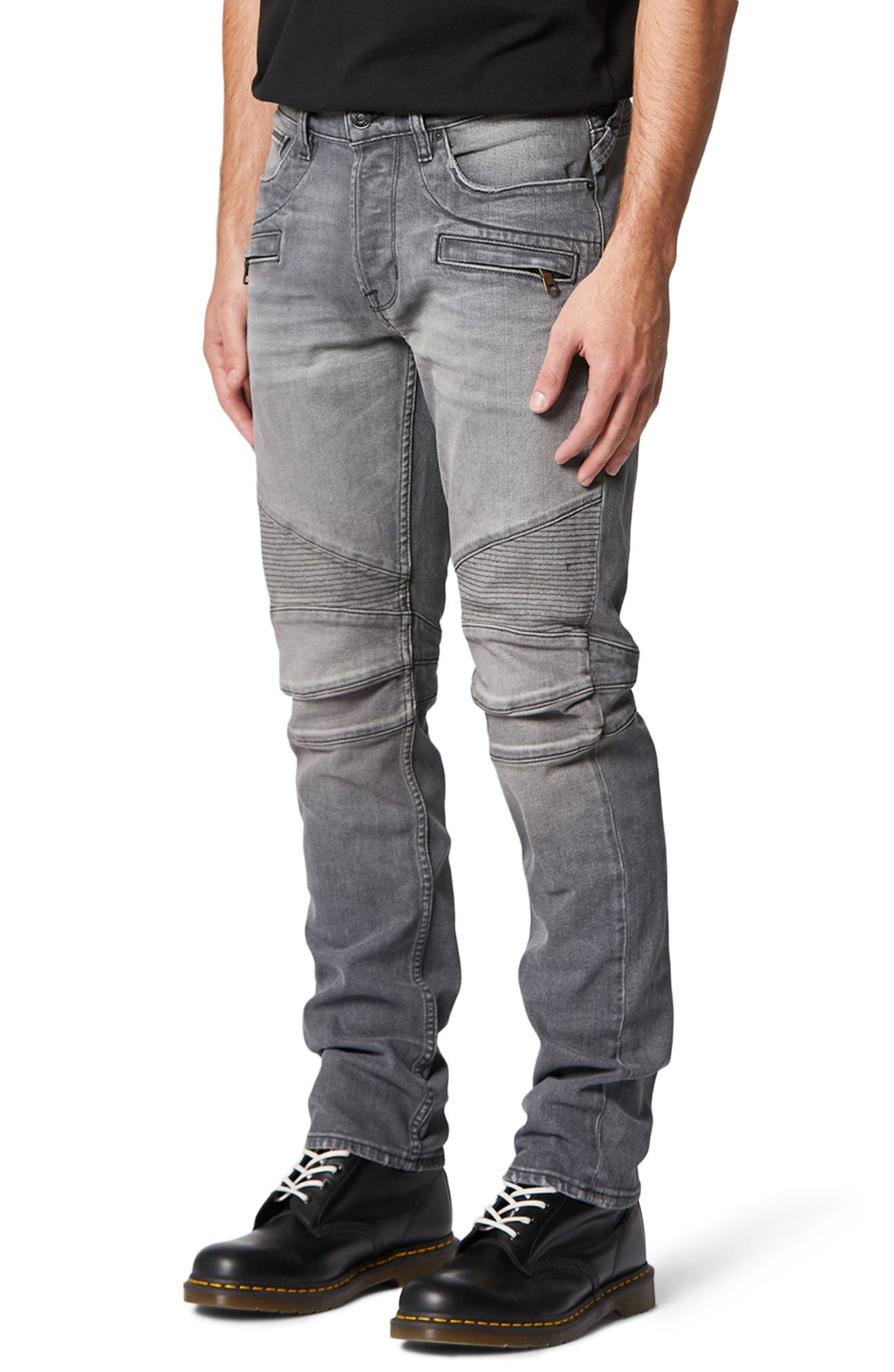 Nicks and heavy sanding rev up the moto attitude of panel-cut biker jeans sporting tough ribbing right above the knees. Style Name: Hudson Jeans The Blinder Biker Skinny Fit Jeans (Trade). Style Number: 5988641. Available in stores.