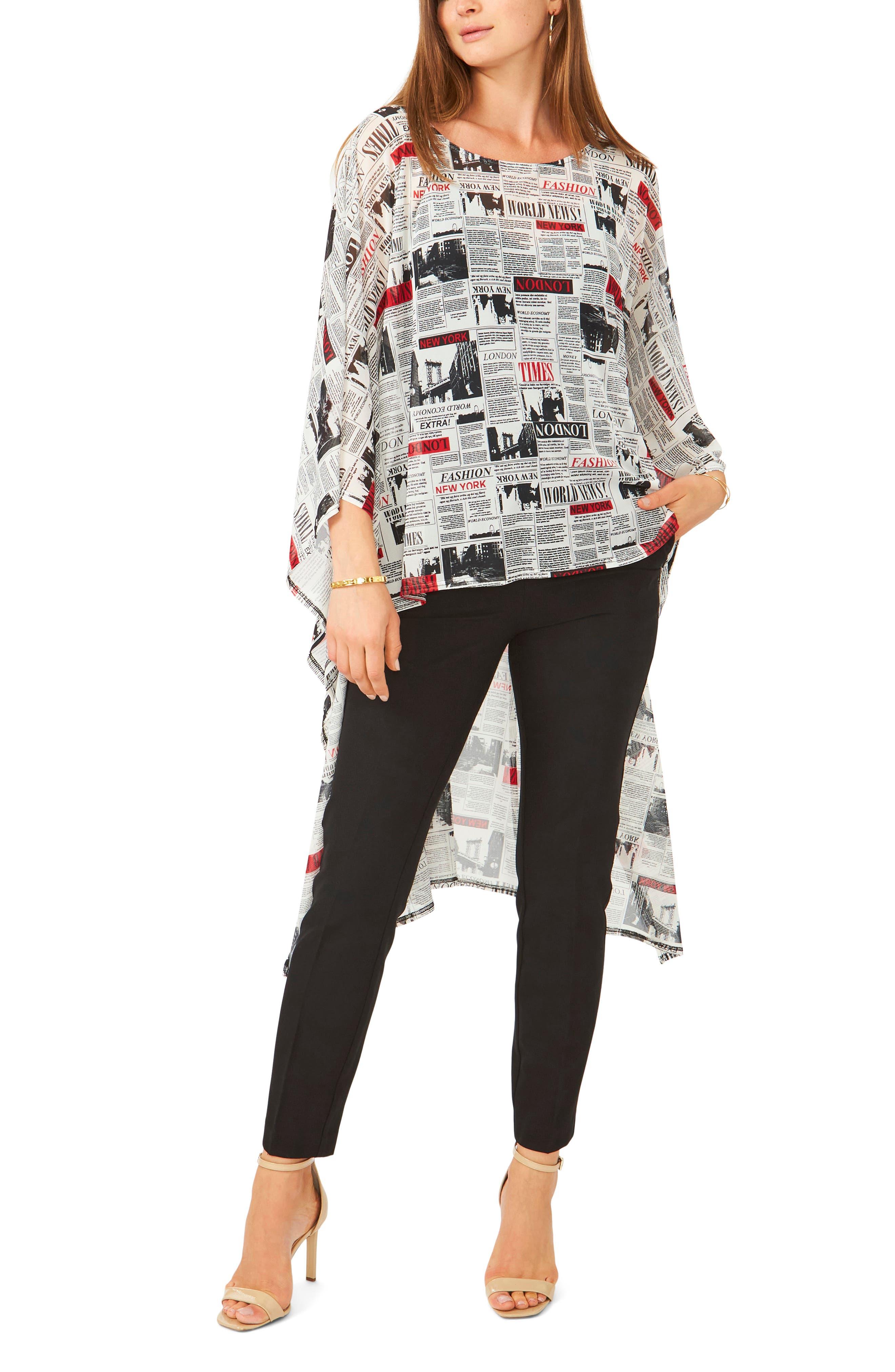 Newsprint High-Low Tunic Top