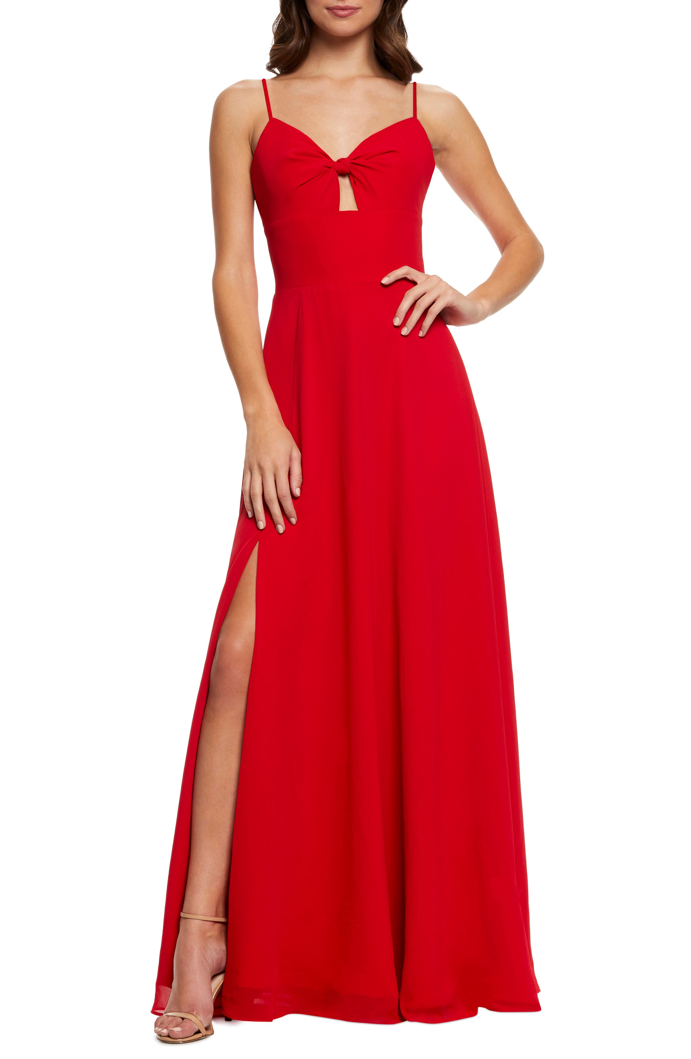 Dress The Population Cambria Tie Bodice Evening Dress, Red