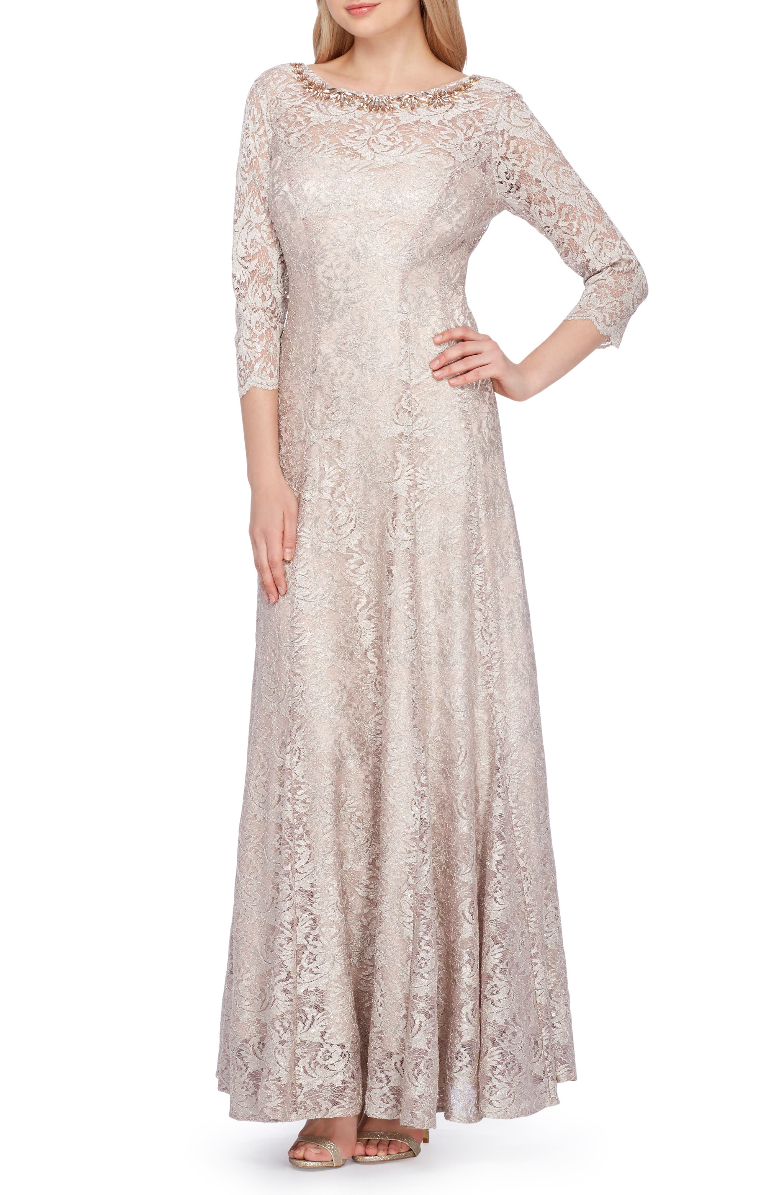 Tahari Embellished Lace Gown, Beige