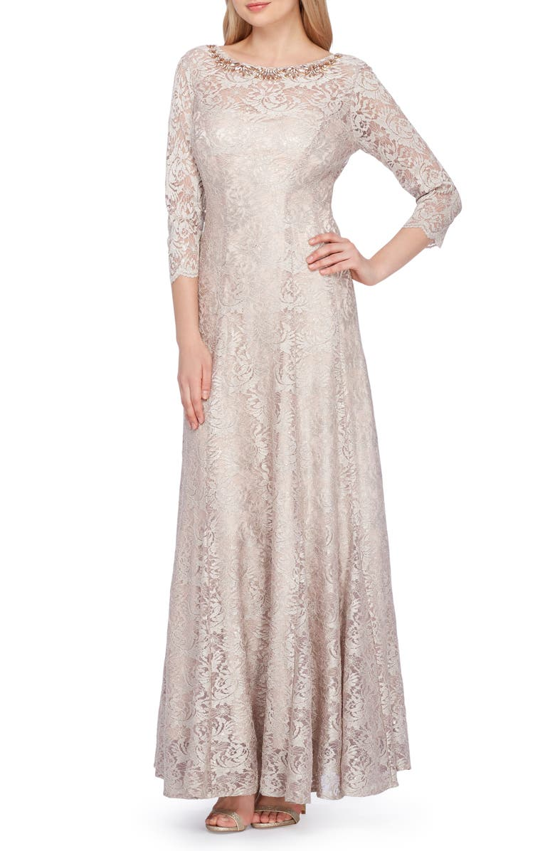 TAHARI Embellished Lace Gown, Main, color, CHAMPAGNE GOLD