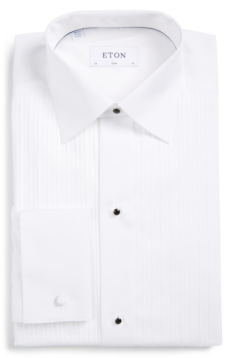ETON Slim Fit Pleated Bib Tuxedo Shirt, Main, color, WHITE