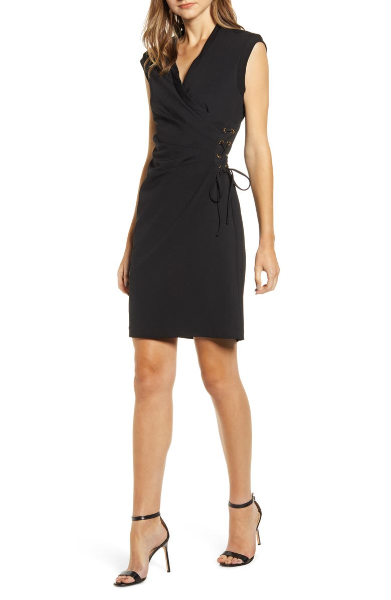 ANNE KLEIN Lace-Up Side Sheath Dress, Main, color, ANNE BLACK