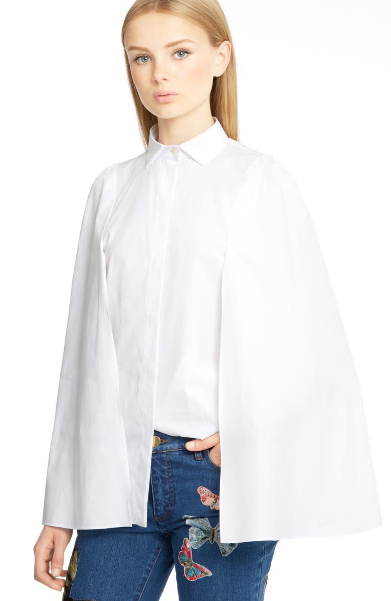 VALENTINO Cape Sleeve Cotton Poplin Shirt, Main, color, 100