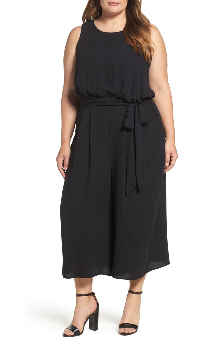 VINCE CAMUTO Moss Crepe Wide Leg Crop Jumpsuit, Main, color, BLACK