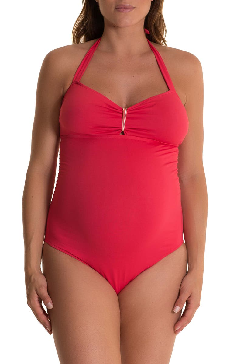 PEZ D'OR Solid One-Piece Maternity Swimsuit, Main, color, CORAL