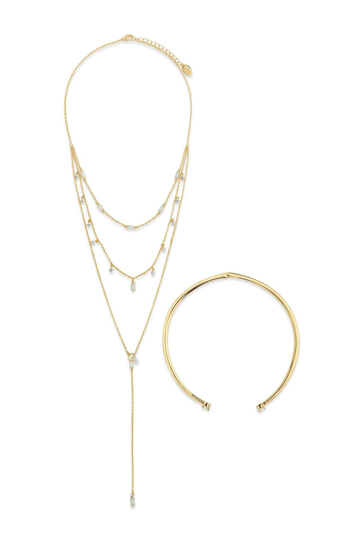 Image of Sterling Forever 14K Gold Plated Brass Flamed Passion Collar & Lariat Necklace 2-Piece Set