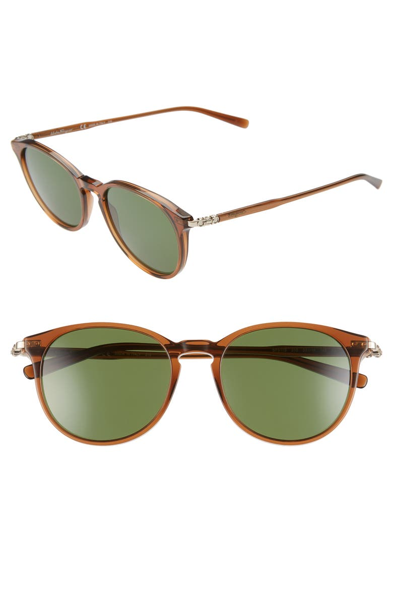 SALVATORE FERRAGAMO Capsule 54mm Round Sunglasses, Main, color, BROWN