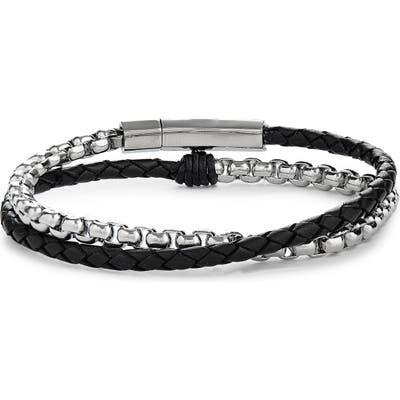 Jonas Studio Braided Leather & Chain Double Wrap Bracelet
