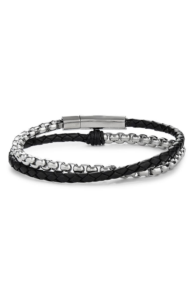 JONAS STUDIO Braided Leather & Chain Double Wrap Bracelet, Main, color, BLACK