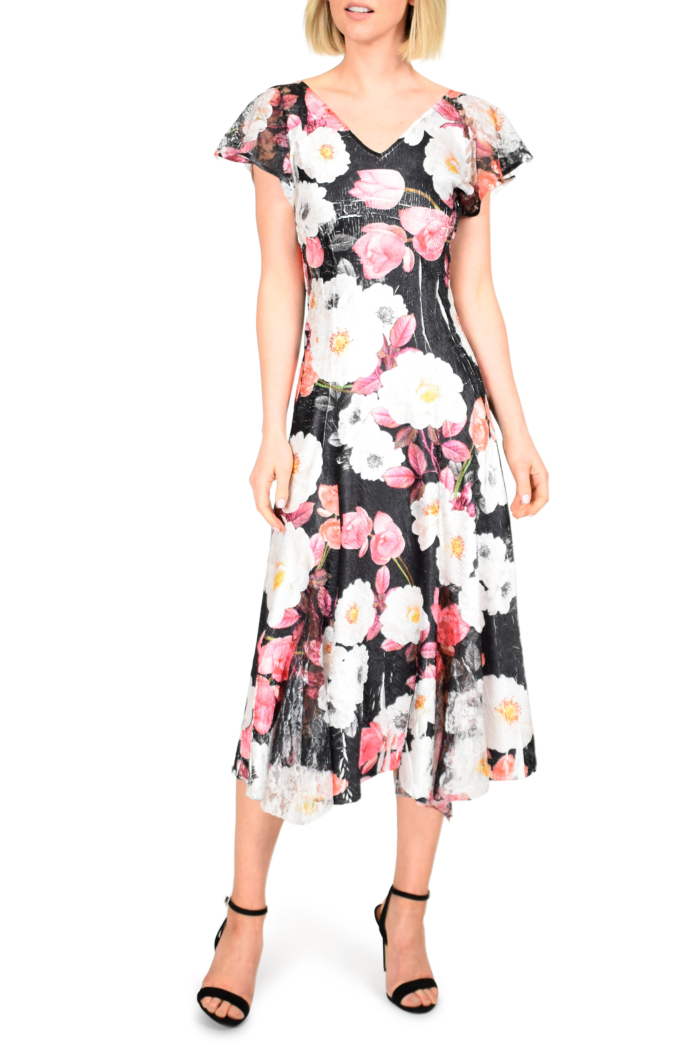 Komarov Floral Charmeuse & Lace Midi Dress, Black
