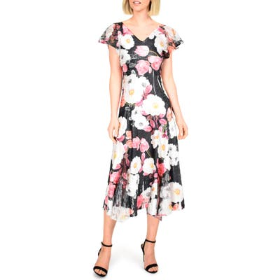 Komarov Floral Charmeuse & Lace Midi Dress, Black