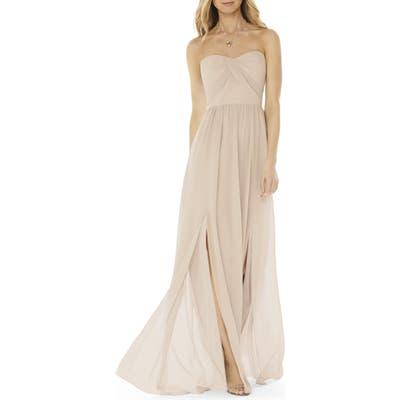 Social Bridesmaids Strapless Georgette Gown, Beige