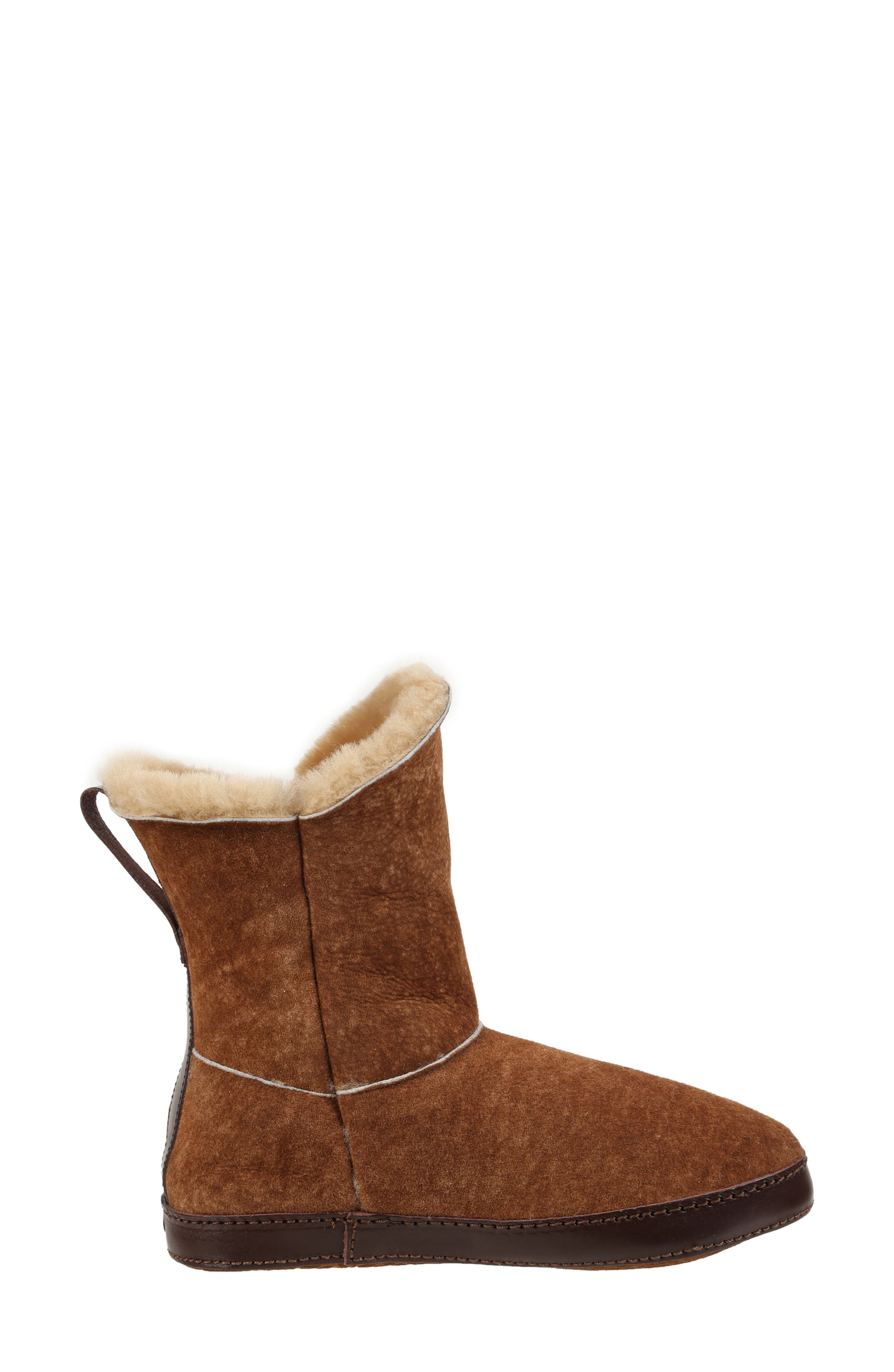 ,                             Gemma Genuine Shearling Slipper Bootie,                             Alternate thumbnail 8, color,                             STONE WASHED COGNAC