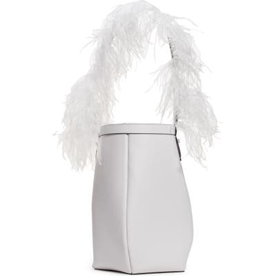 Valentino Garavani By Your Side Ostrich Feather & Leather Bucket Bag - White