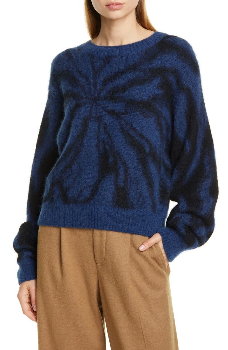 VINCE Tie Dye Alpaca & Mohair Blend Crewneck Sweater, Main, color, NAVY