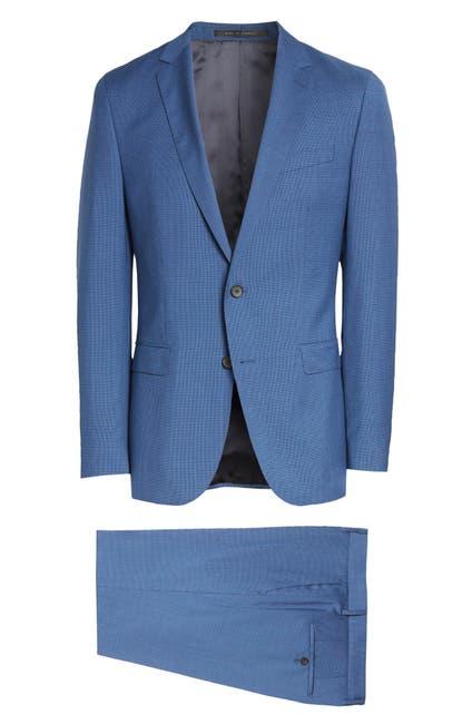 Image of BOSS Novan Ben Blue Houndstooth Two Button Notch Lapel Wool Suit