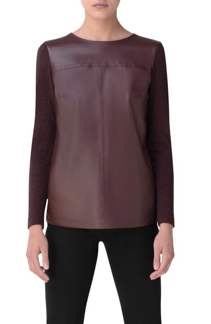 Akris LEATHER, CASHMERE & SILK TOP