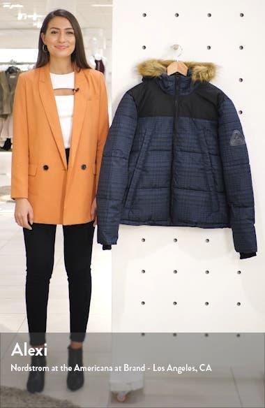 Check Faux Fur Trim Puffer Coat, sales video thumbnail