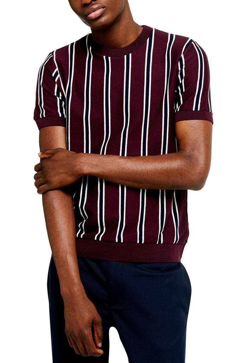 TOPMAN Classic Fit Vertical Stripe Short Sleeve Sweater, Main, color, 930