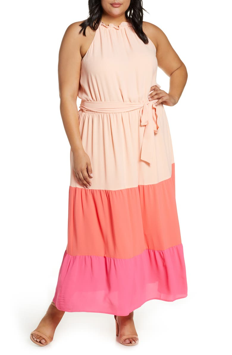 CECE Colorblock Ruffle Georgette Maxi Dress, Main, color, PEACH MIMOSA