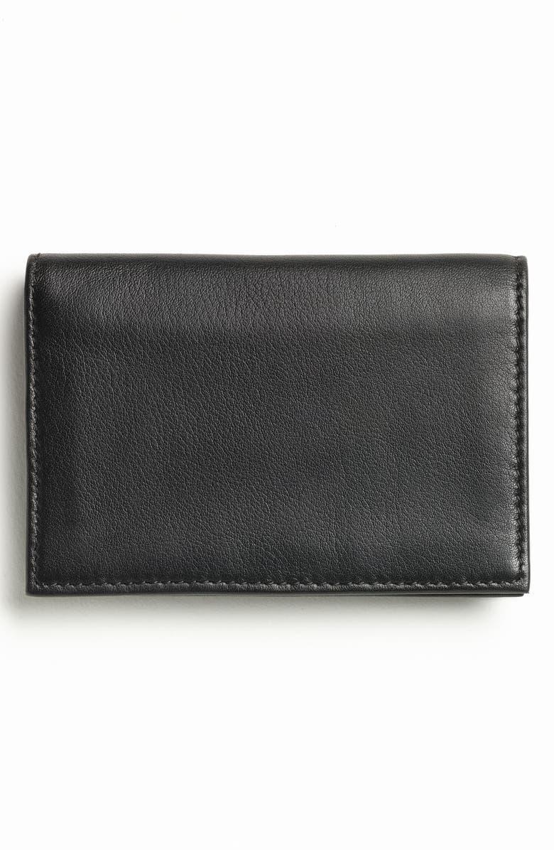 BOSCA Leather Card Case, Main, color, BLACK