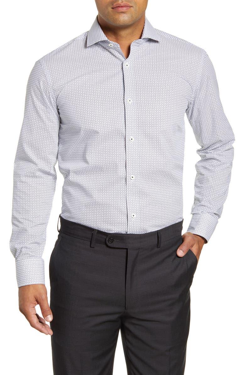 BUGATCHI Trim Fit Geometric Print Dress Shirt, Main, color, CHALK