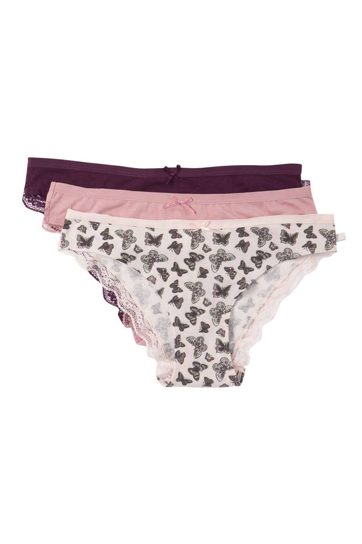 Jessica Simpson Lace Trim Cotton Bikini Panties Pack Of 3 Nordstrom Rack