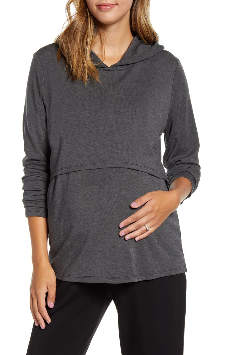 ANGEL MATERNITY Maternity/Nursing Hoodie, Main, color, CHARCOAL