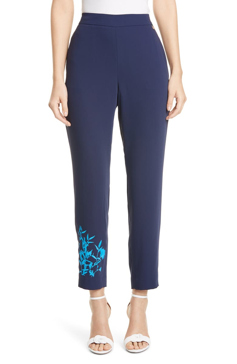 Ted Baker London Embroidered Detail Slim Pants