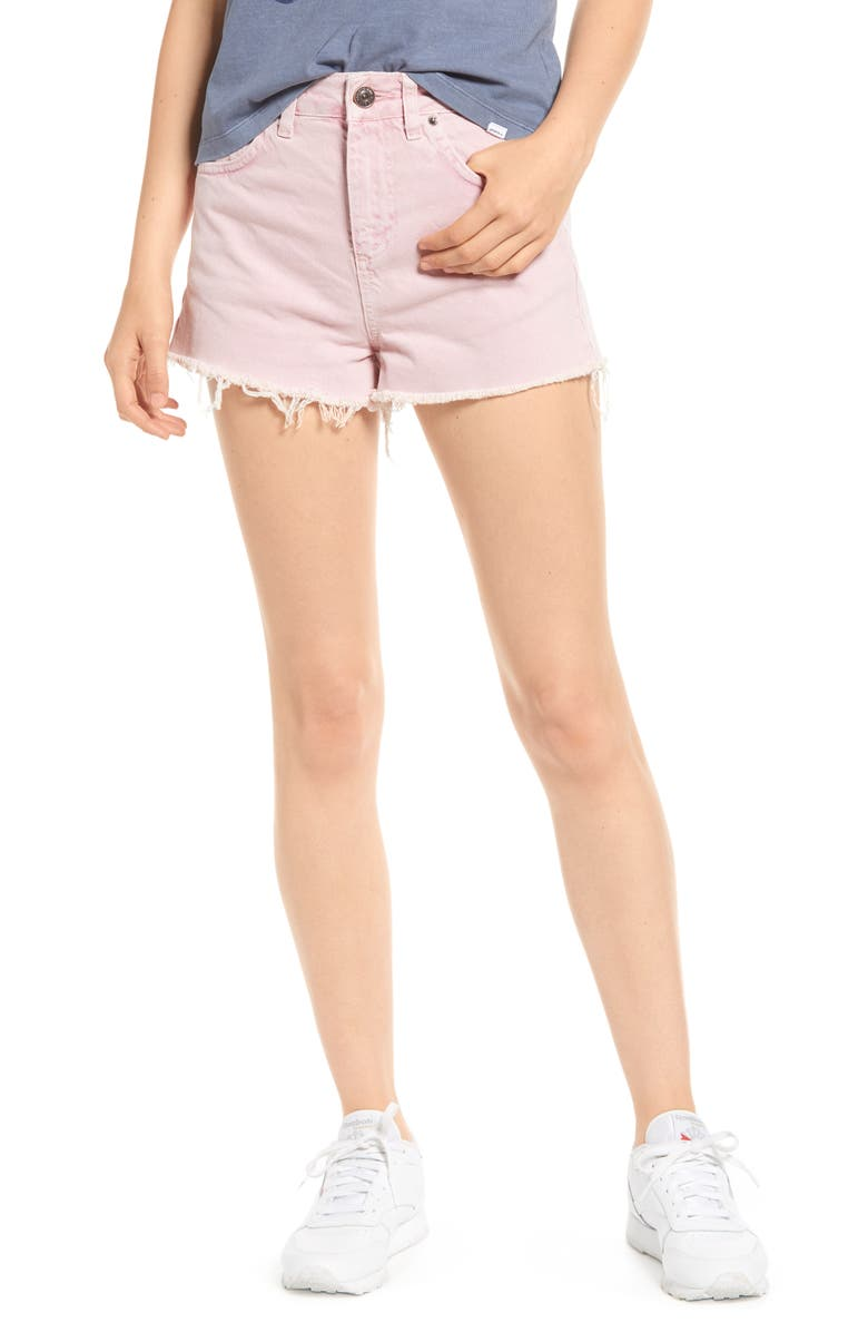 BDG Urban Outfitters High Waist Denim Mom Shorts, Main, color, PINK