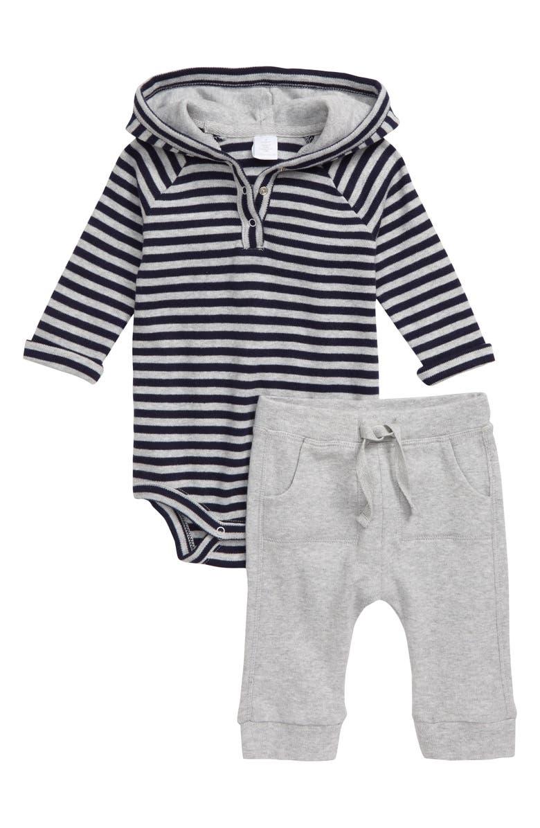 NORDSTROM Stripe Hooded Bodysuit & Sweatpants Set, Main, color, 050