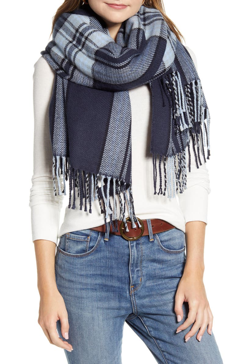 TREASURE & BOND Plaid Fringe Blanket Scarf, Main, color, NAVY COMBO