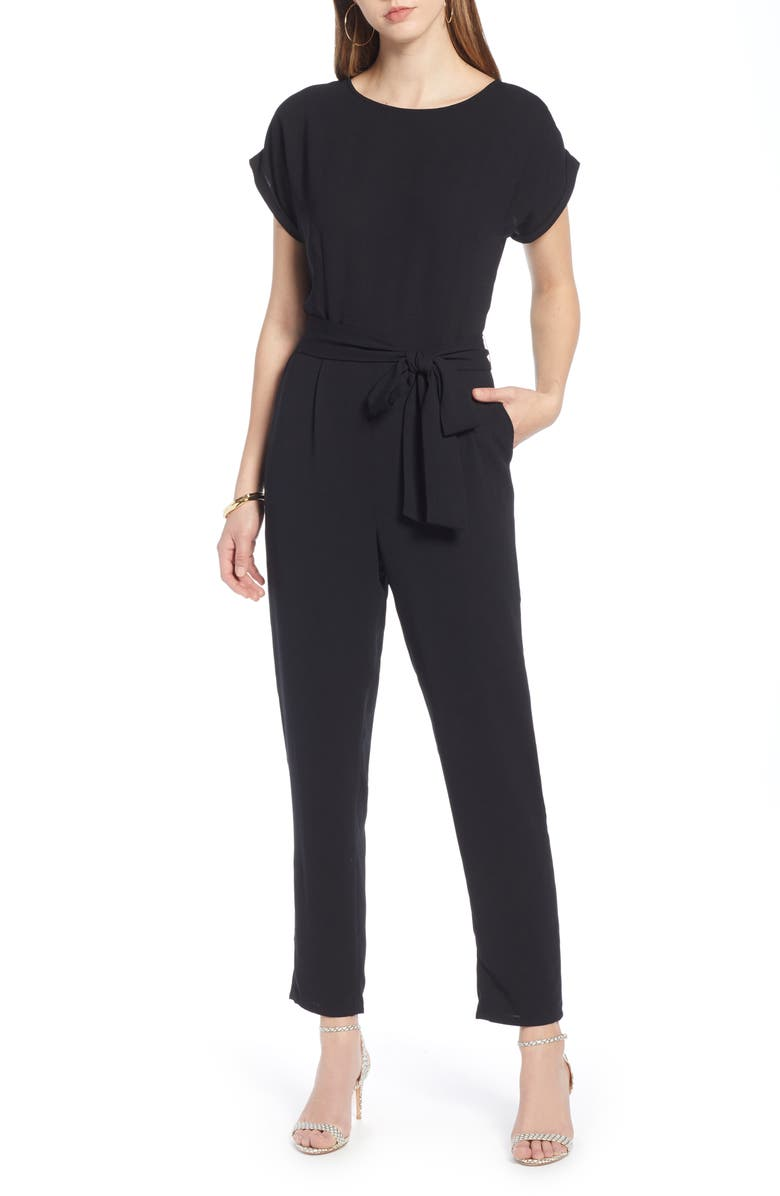 HALOGEN<SUP>®</SUP> Short Sleeve Jumpsuit, Main, color, 001