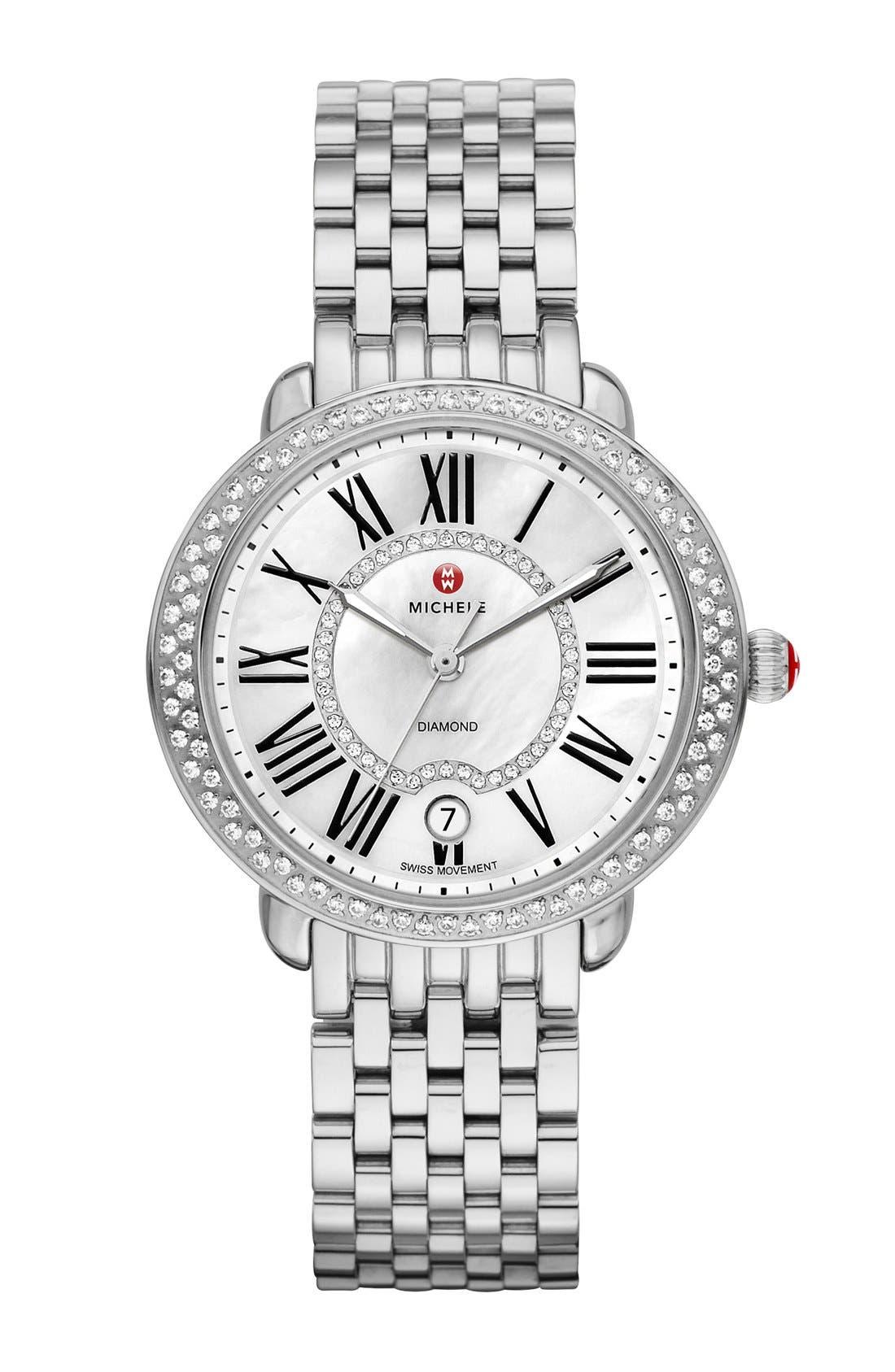 ,                             Serein 16 Diamond Watch Case, 34mm x 36mm,                             Alternate thumbnail 5, color,                             SILVER/ WHITE