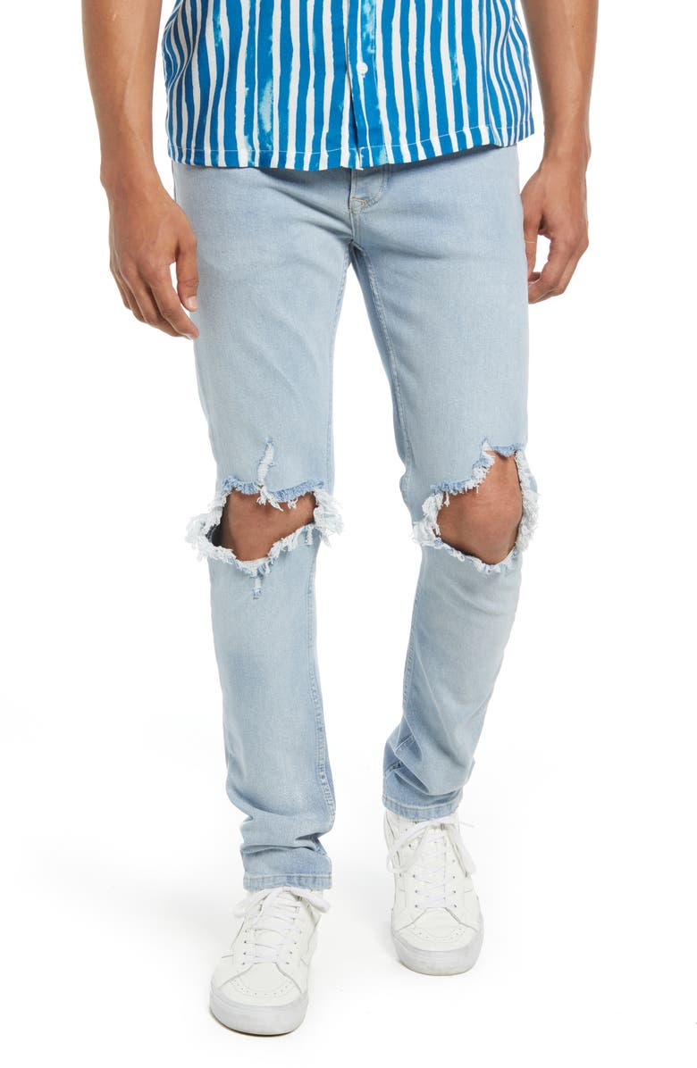 TOPMAN Extreme Ripped Skinny Jeans, Main, color, BLUE