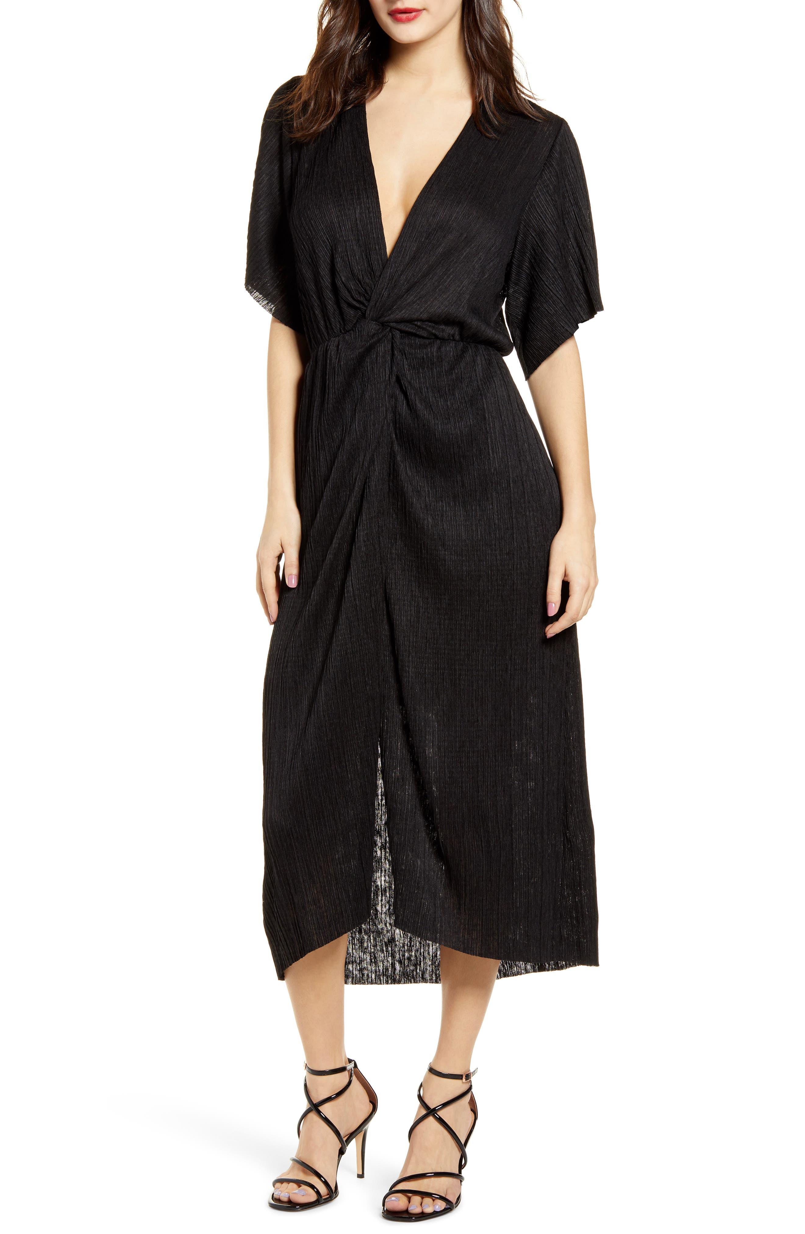 All In Favor Dolman Plisse Midi Dress, Black