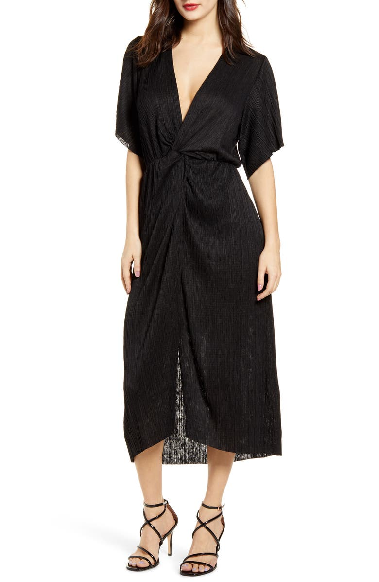 ALL IN FAVOR Dolman Plissé Midi Dress, Main, color, BLACK